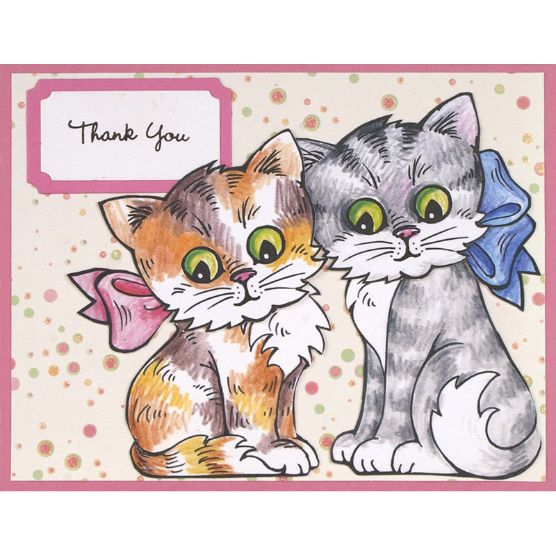 Stampendous Cling Mounted Rubber Stamp Pop Up Kitties