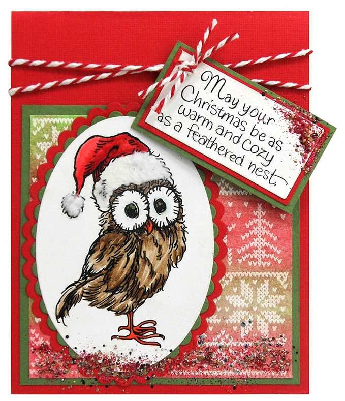 Stampendous Cling Mounted Rubber Stamps Santa Hat Owl