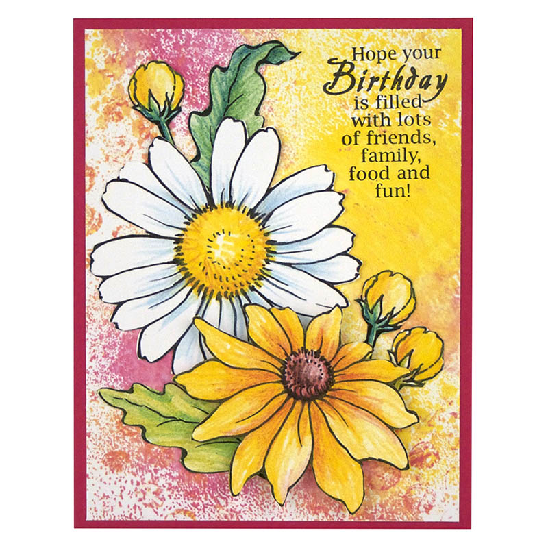 Stampendous Cling Mounted Rubber Stamps Daisy Mix Stamp Set