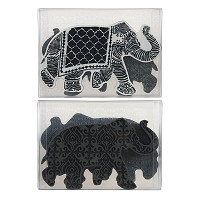 Stampendous - NK Studio Elephant Foam Stamp, Cling Rubber and Stencil Set