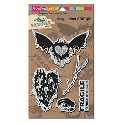Stampendous - Cling Mounted Rubber Stamp - Andy Skinner Handle With Care Stamp Set
