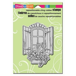 Stampendous Cling Mounted Rubber Stamps - Window Kitty