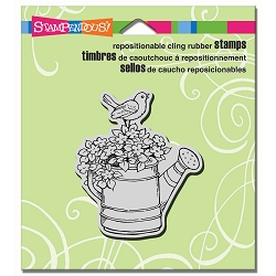 Stampendous Cling Mounted Rubber Stamps - Watering Can Bird