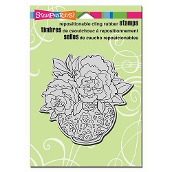 Stampendous Cling Mounted Rubber Stamps - Peony Vase