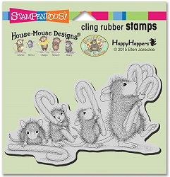 Stampendous Cling Mounted Rubber Stamps - House Mouse Designs - Carrying Candy Canes Rubber Stamp