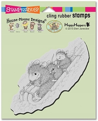 Stampendous Cling Mounted Rubber Stamps - House Mouse Designs - Peppermint Sledding Rubber Stamp