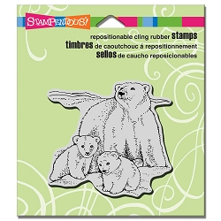 Stampendous - Cling Mounted Rubber Stamp - Polar Bear Play