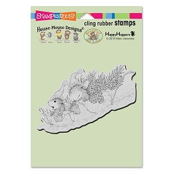Stampendous Cling Mounted Rubber Stamps - House Mouse Designs - Leaf Sledding Rubber Stamp