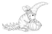 *Stampendous - Cling Mounted Rubber Stamp - House Mouse Carrot Costume