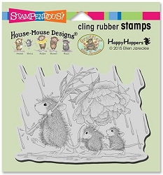 Stampendous Cling Mounted Rubber Stamps - House Mouse Designs - Peony Umbrella