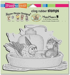 Stampendous Cling Mounted Rubber Stamps - House Mouse Designs - Bird Bath