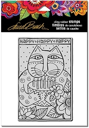 Stampendous - Laurel Burch - Cling Rubber Stamp Happy Birthday Cat