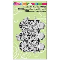 Stampendous Cling Mounted Rubber Stamps - Daisy Pot Trio