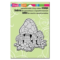 Stampendous Cling Mounted Rubber Stamps - Mosaic Mushrooms