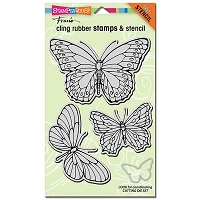 Stampendous - Cling Mounted Rubber Stamp - PenPattern Butterflies Stamp Set