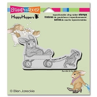 Stampendous - Cling Mounted Rubber Stamp - House Mouse Happy Hopper Wagon Ride