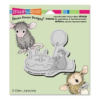 Stampendous - Cling Mounted Rubber Stamp - House Mouse Birthday Donut