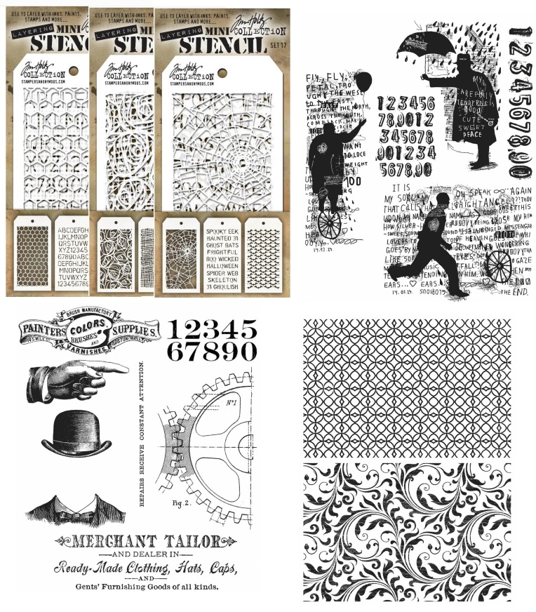 Stamper's Anonymous - Tim Holtz Cling Stamps, Stencils and Mini Stencils