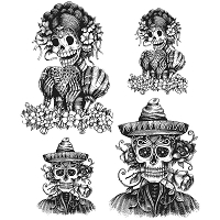 Stamper's Anonymous / Tim Holtz - Cling Mounted Rubber Stamp Set - Day of the Dead #1