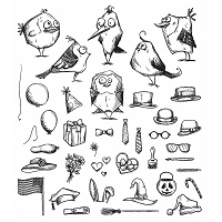 Stamper's Anonymous / Tim Holtz - Cling Mounted Rubber Stamp Set - Mini Birds Crazy  & Things
