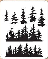 Stamper's Anonymous / Tim Holtz - Cling Mounted Rubber Stamp Set - Tree Line