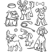 Stamper's Anonymous / Tim Holtz - Cling Mounted Rubber Stamp Set - Crazy Dogs
