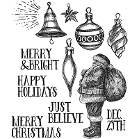 Stamper's Anonymous / Tim Holtz - Cling Mounted Rubber Stamp Set - Festive Sketch