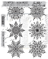 Stamper's Anonymous / Tim Holtz - Cling Mounted Rubber Stamp Set - Swirly Snowflakes