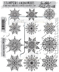 Stamper's Anonymous / Tim Holtz - Cling Mounted Rubber Stamp Set - Mini Swirly Snowflakes