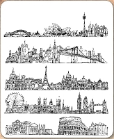 Stamper's Anonymous / Tim Holtz - Cling Mounted Rubber Stamp Set - Cityscapes