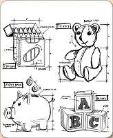 Stamper's Anonymous / Tim Holtz - Cling Mounted Rubber Stamp Set - Childhood Blueprints