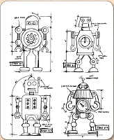 Stamper's Anonymous / Tim Holtz - Cling Mounted Rubber Stamp Set - Robots Blueprints