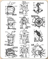 Stamper's Anonymous / Tim Holtz - Cling Mounted Rubber Stamp Set - Mini Blueprints 9