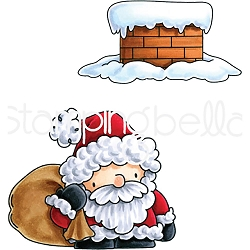 Stamping Bella - Cling Rubber Stamp - Little Bits Santa And His Chimney