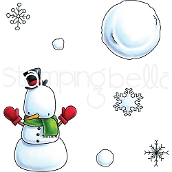Stamping Bella - Cling Rubber Stamp - Little Bits Snowman Set