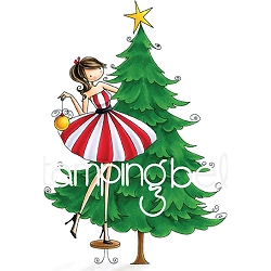 Stamping Bella - Cling Rubber Stamp - Uptown Girl Tina Trims The Tree