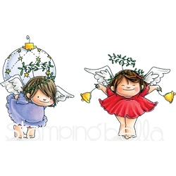 Stamping Bella - Cling Rubber Stamp - Angel Squidgies Bells & Ornament