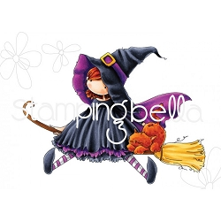 Stamping Bella - Cling Rubber Stamp - Tiny Townie Hattie Loves Halloween