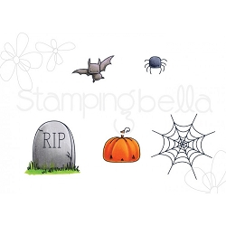 Stamping Bella - Cling Rubber Stamp - Little Bits Halloween Haunted House Outdoor Decor