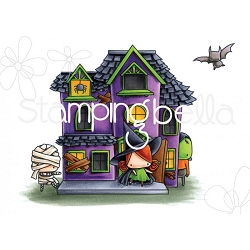 Stamping Bella - Cling Rubber Stamp - The Littles Halloween Haunted House Scene