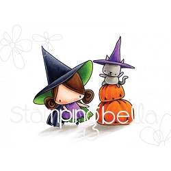 Stamping Bella - Cling Rubber Stamp - The Littles Halloween Pumpkin with a Witchy on Top