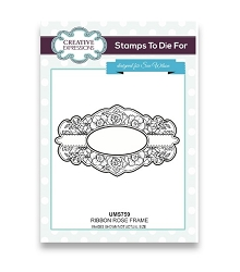 Sue Wilson Designs - Cling Mounted Stamp - Ribbon Rose Frame