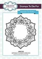 Sue Wilson Designs - Cling Mounted Stamp - Spring Flower Wreath
