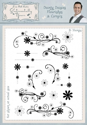 Creative Expressions - Clear Stamp - Dainty Daisies Flourishes and Corners by Phill Martin