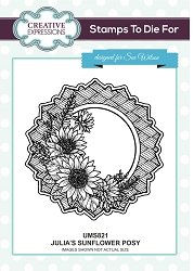 Sue Wilson Designs - Cling Mounted Stamp - Julia's Sunflower Posy