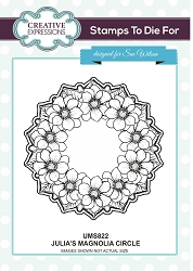 Sue Wilson Designs - Cling Mounted Stamp - Julia's Magnolia Circle