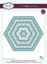 Sue Wilson Designs - Die - Noble Collection - Classic Adorned Hexagons (requires large format die cutting machine)