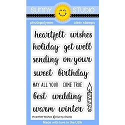 Sunny Studio - Clear Stamp - Heartfelt Wishes