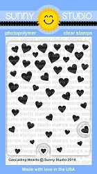 Sunny Studio - Clear Stamp - Cascading Hearts