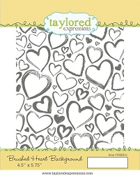 Taylored Expressions - Cling Mounted Rubber Stamp - Brushed Heart Background